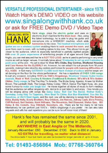 Singalong with Hank flyer (back)